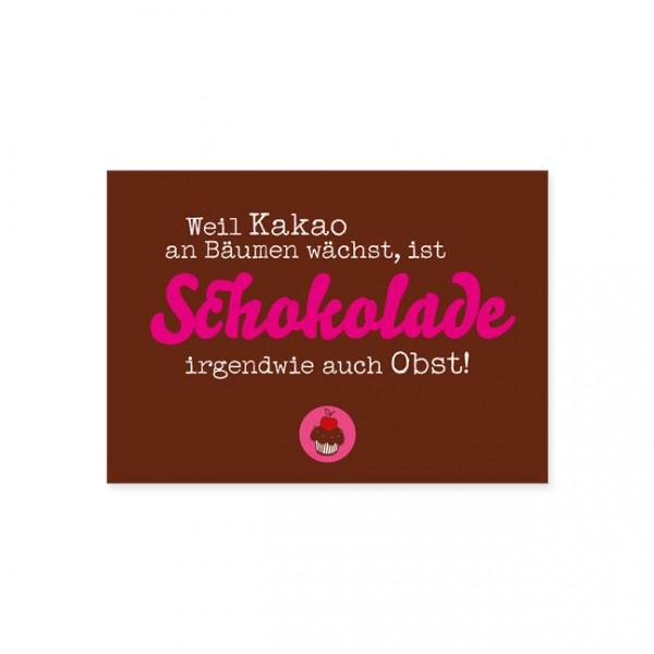 """Postkarte """"Schokolade ist """"Obst"""