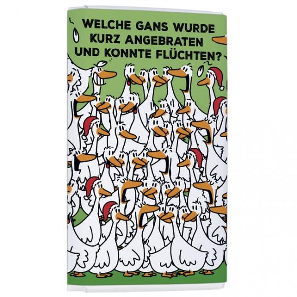Schokoladentäfelchen Weihnachten 'Fürs Hirn-Gans braten' von Alexander Holzach