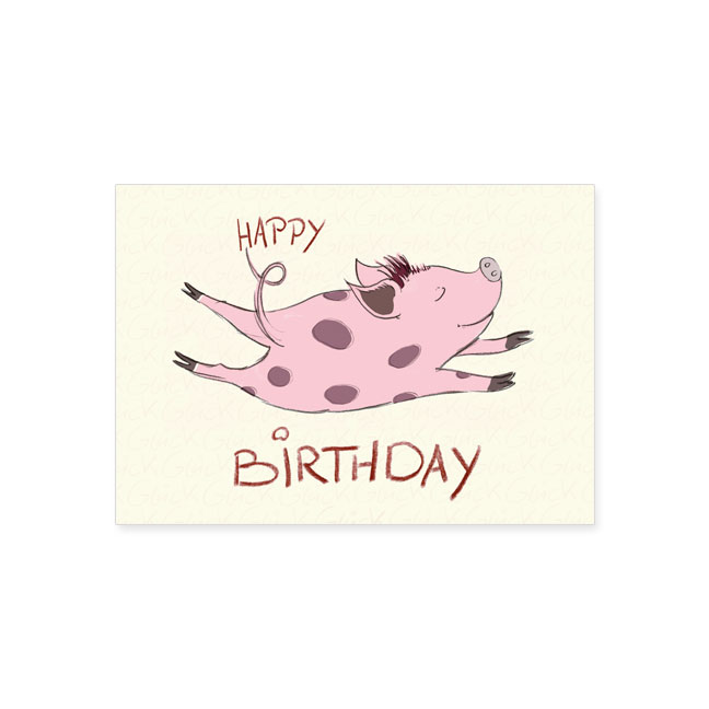 postkarte happy birthday schweinchen postkarte. Black Bedroom Furniture Sets. Home Design Ideas