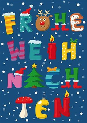 """Postkarte X-Mas """"Frohe Weihnachten"""""""