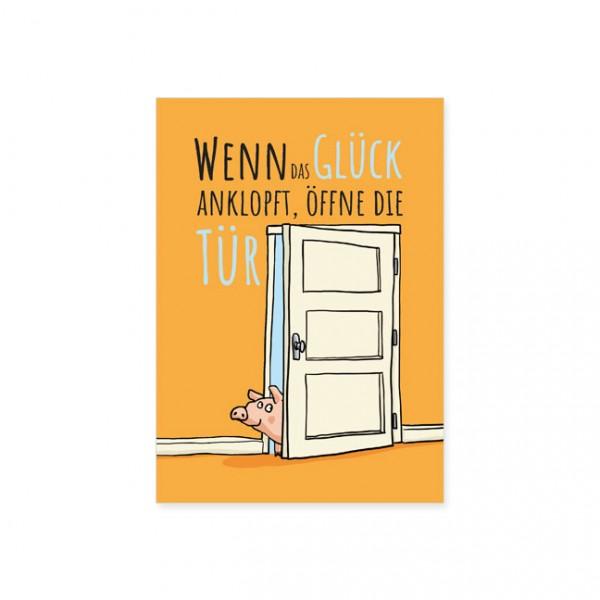 "Postkarte "" Wenn das Glück anklopft """