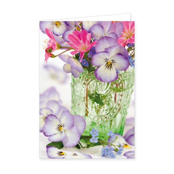 """Doppelkarte """"Frühlingsstrauß in grüner Vase"""""""