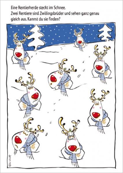 Frohe Weihnachten F303274r Kunden.Postkarte X Mas Rentiere Ratsel